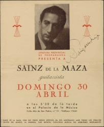 Programa de mano de un concierto de Regino Sáinz de la Maza, autografiado.