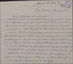 Carta de José María Legaza a Guillermo Fernández-Shaw, pidiéndole una obra para su compañía infantil.