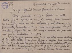 Carta de José López Rivera a Guillermo Fernández-Shaw, hablando ampliamente de sus problemas teatrales.