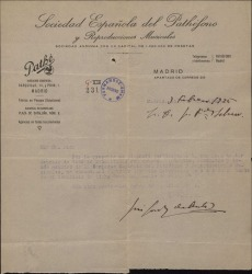 Carta de José Font de Anta a Guillermo Fernández-Shaw, dándole a conocer el horario en que puede contactar con él para todo lo relacionado con una sociedad de reproducciones musicales.