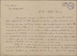 Carta de Tomás Barrera a Federico Romero, despidiéndose de él y lamentando el conflicto existente entre ambos.