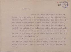 Carta de Federico Romero a Guillermo Fernández Shaw, remitiéndole una carta de Dotras y copia de su contestación. Hace comentarios sobre la situación de política en Europa.