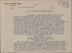 Carta de Aníbal Sánchez Fraile a Guillermo Fernández-Shaw, recordando su primer encuentro y hablando de su trabajo.