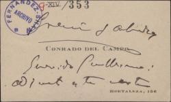 Tarjeta de visita de Conrado del Campo a Guillermo Fernández-Shaw, remitiendo un documento para Federico Romero.