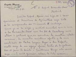 Carta de Leopoldo Magenti a Rafael Fernández-Shaw, pidiéndole una recomendación para los exámenes de su hijo.