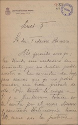 Carta de Federico Moreno Torroba a Federico Romero, lamentando no haber podido tomar parte en un homenaje dedicado a éste y a Guillermo Fernández-Shaw.