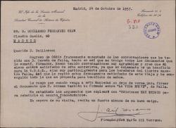 Carta de José María Gil Serrano a Guillermo Fernández-Shaw, comunicando regresa de Cádiz muy satisfecho de las conversaciones mantenidas con D. Germán de Falla, heredero del maestro Falla.