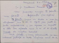 Carta de José López Rivera a Guillermo Fernández-Shaw, felicitándole por su nombramiento de Director General de la Sociedad General de Autores de España.