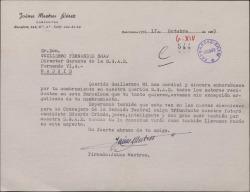 Carta de Jaime Mestres a Guillermo Fernández-Shaw, felicitándole por su nombramiento de Director General de la Sociedad General de Autores de España.