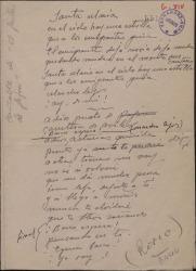 "Documento autógrafo, de Jesús Romo, con la letra de un cantable de ""El gaitero de Gijón""."