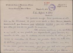 Carta de Ruiz de Azagra a Rafael Fernández-Shaw, diciéndole que a Celia Gámez le ha interesado mucho su comedia.