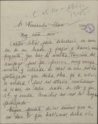 """Carta de María Morera, hija de Enrique Morera, a Guillermo Fernández-Shaw, haciendo una pregunta en relación con la obra """"La canción del naúfrago""""."""
