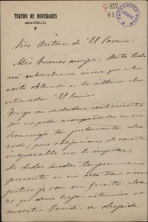 """Carta de Cayo Vela a los autores de """"El caserío"""", dándoles la enhorabuena por el éxito de la obra y adhiriéndose al homenaje que se les ofrece."""