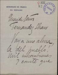 Carta firmada por V. de Alberdi y Joaquín Turina, dando la enhorabuena a Guillermo Fernández-Shaw