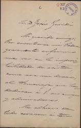 """Carta de Arturo Saco del Valle a Jesús Guridi, adhiriendose al homenaje que se va a ofrecer a los autores de """"El caserío""""."""