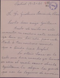 Carta de Josefina Eduarte, esposa de Rafael Millán, a Guillermo Fernández-Shaw, dándole las gracias por el artículo que ha publicado sobre su esposo.
