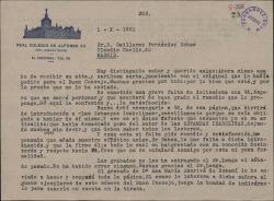 Carta del Padre Severino Piqué Iglesias a Guillermo Fernández-Shaw, agradeciéndole el envío de un original que le habia solicitado para su publicación.
