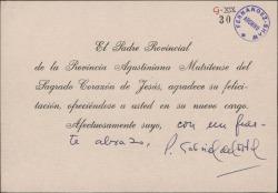 Tarjeta del Padre Gabriel del Estal a Guillermo Fernández-Shaw, agradeciendo la felicitación por su nuevo cargo.