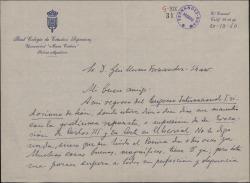 Carta del Padre Ángel Custodio Vega a Guillermo Fernández-Shaw, agradeciéndole el envío de un poema suyo, del que hace grandes elogios.