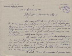 Carta del Padre Diego P. de Arrilucea a Guillermo Fernández-Shaw, elogiando el poema que le ha enviado.