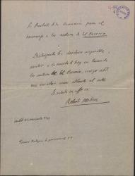 """Carta de Roberto Molina adhiriéndose por escrito a el homenaje a los autores de """"El caserío"""", ante la imposibilidad de asistir al acto."""