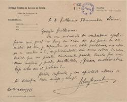 Carta de José Silva Aramburu a Guillermo Fernández-Shaw, pidiéndole dinero prestado.