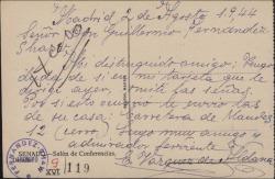 Tarjeta postal de E. Vázquez de Aldana a Guillermo Fernández-Shaw, enviándole las señas de su casa.