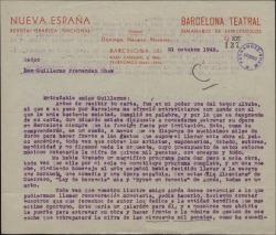 Carta de Domingo Navarro a Guillermo Fernández-Shaw, pidiéndole que interceda ante Eduardo Aunós para facilitar el estreno de una obra de éste en Barcelona.
