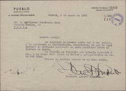 Carta de Alvaro Aparicio a Guillermo Fernández-Shaw, agradeciendo su felicitación y alegrándose de que le gustara el artículo publicado sobre el estreno de una obra.