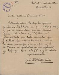 """Carta de José María Salaverría a Guillermo Fernández-Shaw, agradeciéndole el envío de unas localidades para el estreno de """"El caserío""""."""