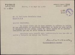 Carta de Emilio Romero a Guillermo Fernández-Shaw, celebrando que le haya gustado cierta crónica y asegurándole que cuenta siempre con su aplauso.