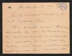 """Carta de Juan Ignacio Luca de Tena a Guillermo Fernández-Shaw y Federico Romero agradeciéndoles el envío de un ejemplar de """"La rosa del azafrán"""" dedicado."""
