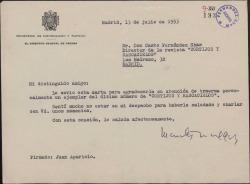 """Carta de Juan Aparicio a Casto Fernández-Shaw, agradeciéndole le haya llevado el último número de la revista """"Cortijos y rascacielos""""."""