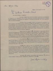 Carta de Juan Aparicio a Guillermo Fernández-Shaw, solicitando su voto para conseguir el cargo de Presidente de la Asociación de la Prensa de Madrid.