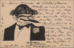 Tarjeta postal de Federico García Sanchiz al Marqués de Valdeiglesias, hablándole de su trabajo en países hispanoamericanos.