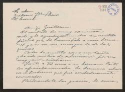 Carta de Antonio Prast a Guillermo Fernández-Shaw, agradeciéndole un pésame.