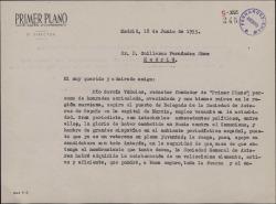 Carta de Adriano del Valle a Guillermo Fernández-Shaw, rogándole que apoye la candidatura de Pío García Viñolas para un cargo en la Sociedad General de Autores de España.