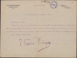 Carta de José Francos Rodríguez a Guillermo Fernández-Shaw, sobre un artículo que ha escrito el primero sobre Carlos Fernández Shaw.