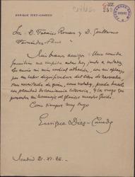 """Carta de Enrique Díez-Canedo a Guillermo Fernández-Shaw y Federico Romero, excusándose por no poder asistir al homenaje que se va a rendir a los autores de """"El caserío""""."""