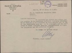 Carta de Ángel Soler a Guillermo Fernández-Shaw, agradeciéndole el obsequio de unos discos que éste ha hecho.