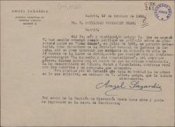 Carta de Ángel Sagardía a Guillermo Fernández-Shaw, pidiéndole dé cuenta en el boletín de la Sociedad General de Autores de España de la labor de divulgación de la zarzuela que realiza mediante sus conferencias.
