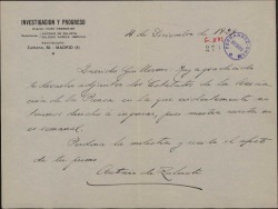 Carta de Antonio de Zulueta a Guillermo Fernández-Shaw, devolviendo los estatutos de la Asociación de la Prensa.