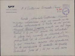 Carta de Raimundo de los Reyes a Guillermo Fernández-Shaw, recomendando a su yerno Manuel Llanos Jiménez para una vacante en la Sociedad General de Autores de España.