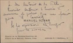 """Tarjeta de visita de Manuel Aznar pidiéndo a Antonio de la Villa el palco que éste le ofreció para ver """"El caserío""""."""