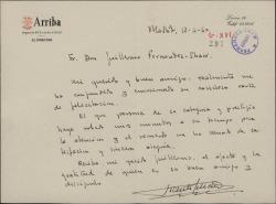 Carta de Vicente Setien a Guillermo Fernández-Shaw, agradeciendo su cariñosa felicitación.