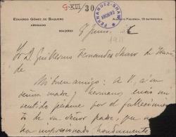 Carta de Eduardo Gómez de Baquero a Guillermo Fernández-Shaw, dándole el pésame por la muerte de su padre, Carlos Fernández Shaw.