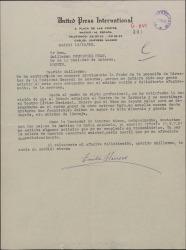 Carta de Emilio Herrero a Guillermo Fernández-Shaw, felicitándole por su nombramiento de Director de la Sociedad General de Autores de España y hablando de otros temas profesionales.