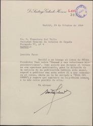 Carta de Santiago Galindo Herrero a Francisco del Valle, comunicando haber recibido el libro de Félix Fernández-Shaw y haber enviado una nota de prensa para que aparezca coincidiendo con su publicación.
