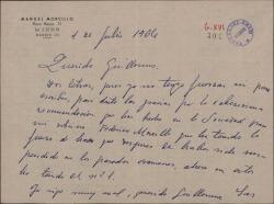 Carta de Manuel Morcillo a Guillermo Fernández-Shaw, agradeciéndole la recomendación a favor de su sobrino en unos exámenes.