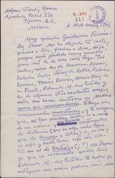 Carta de Alfonso Vidal y Planas a Guillermo Fernández-Shaw, comentando sobre poemas y asuntos profesionales y anunciando su intención de viajar próximamente a Madrid.